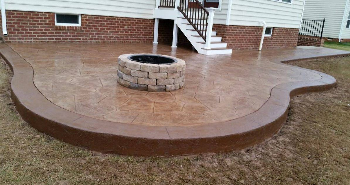 beautiful stamped concrete patio, installed in chesapeake, va