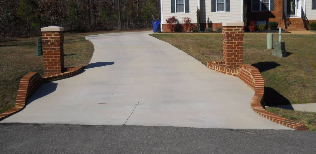 concrete driveway recently installed in virginia beach