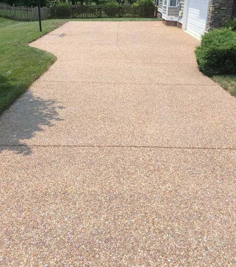 exposed aggregate driveway our company installed at a property in Virginia Beach